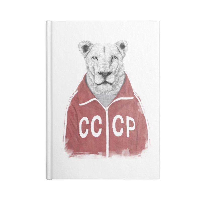Soviet lion Accessories Lined Journal Notebook by Balazs Solti