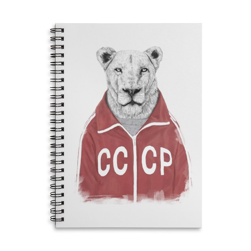 Soviet lion Accessories Lined Spiral Notebook by Balazs Solti