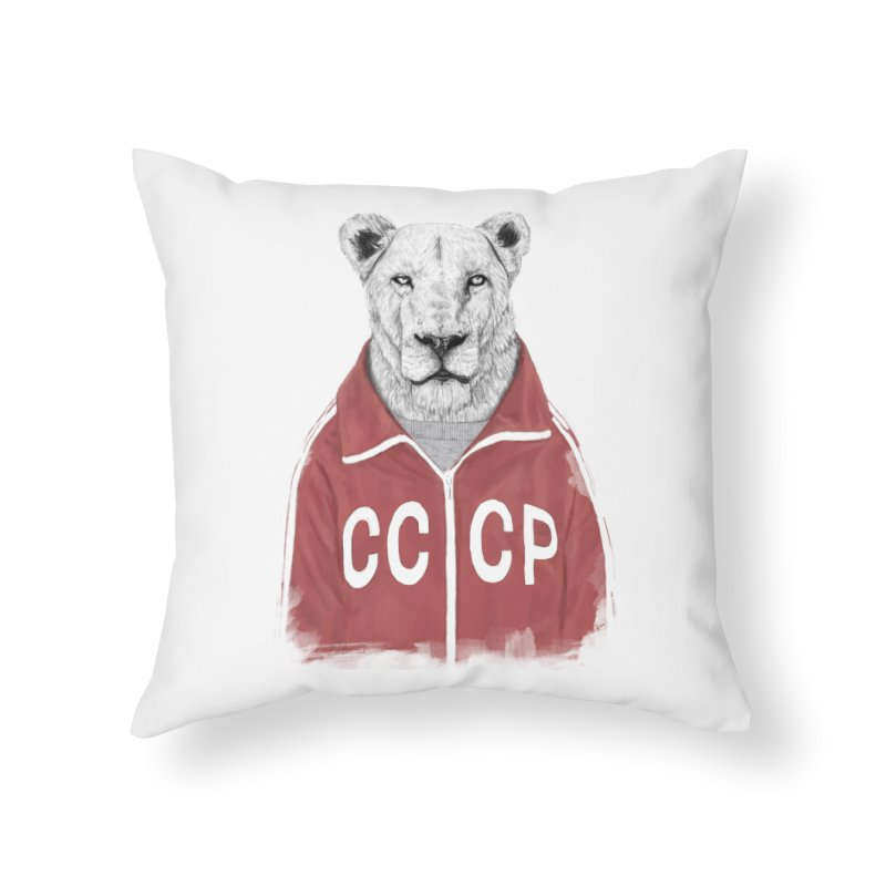 Soviet lion Home Throw Pillow by Balazs Solti