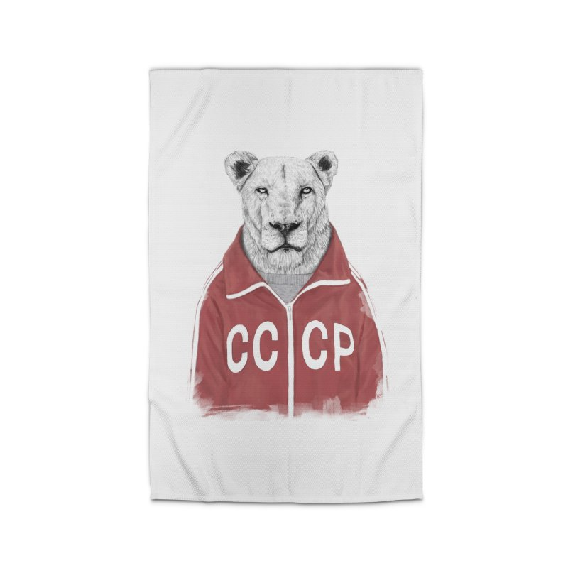 Soviet lion Home Rug by Balazs Solti