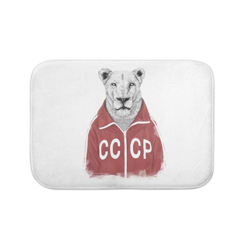 Soviet lion Home Bath Mat by Balazs Solti