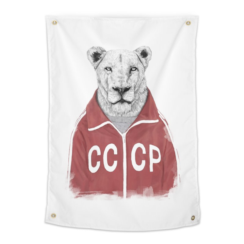 Soviet lion Home Tapestry by Balazs Solti