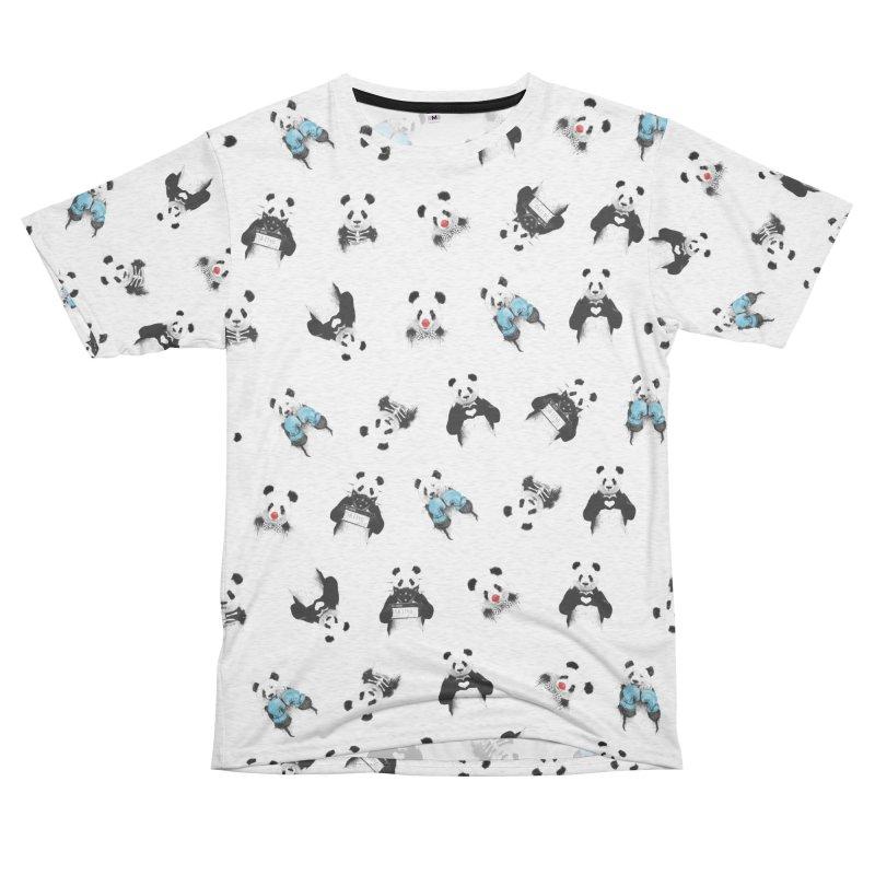 Panda pattern Women's Unisex French Terry T-Shirt Cut & Sew by Balazs Solti