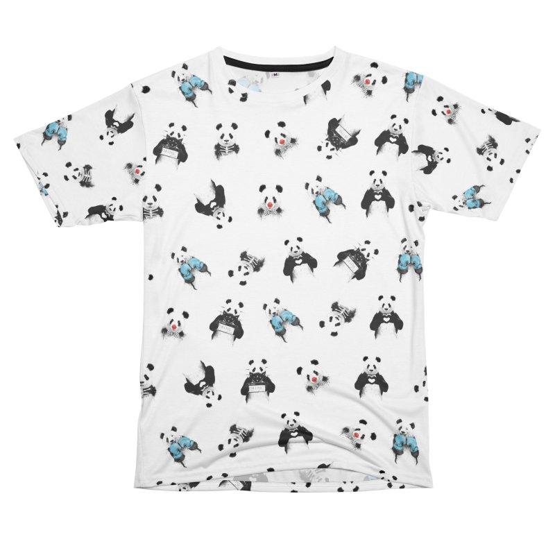 Panda pattern Women's Unisex T-Shirt Cut & Sew by Balazs Solti