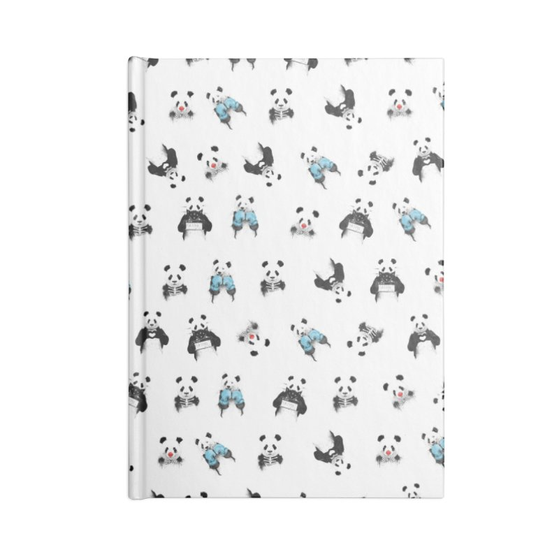 Panda pattern Accessories Lined Journal Notebook by Balazs Solti