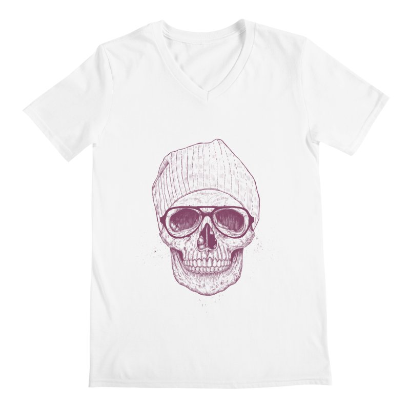 Cool skull Men's Regular V-Neck by Balazs Solti