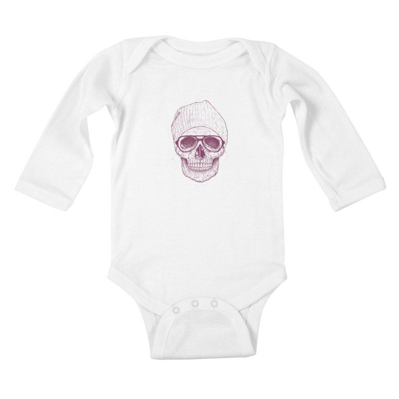 Cool skull Kids Baby Longsleeve Bodysuit by Balazs Solti