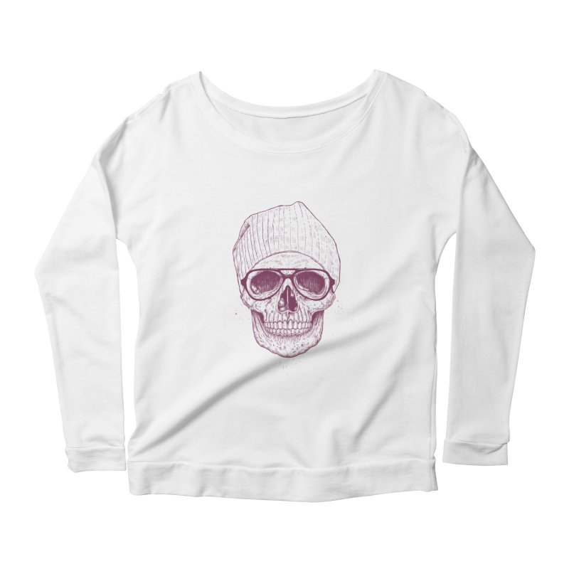 Cool skull Women's Scoop Neck Longsleeve T-Shirt by Balazs Solti