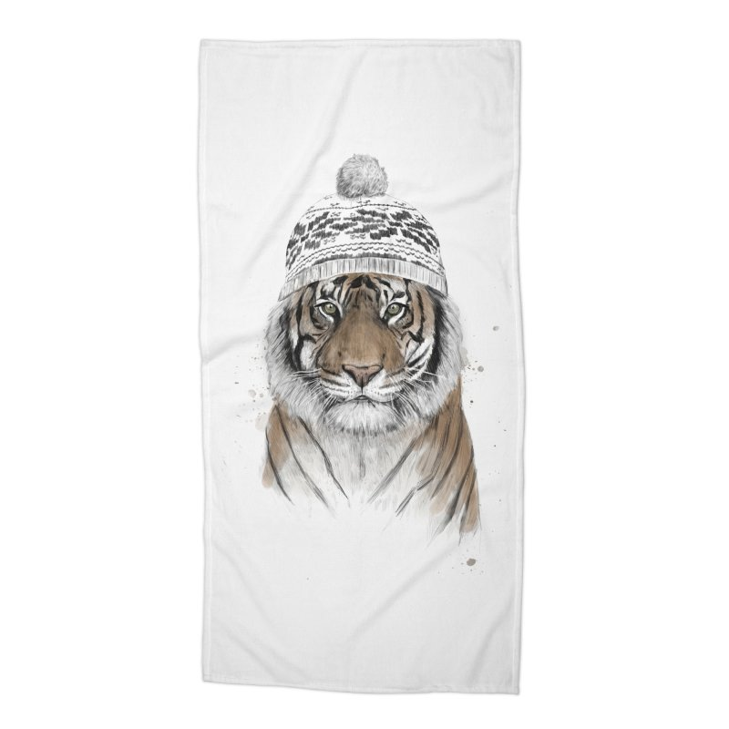 Siberian tiger Accessories Beach Towel by Balazs Solti