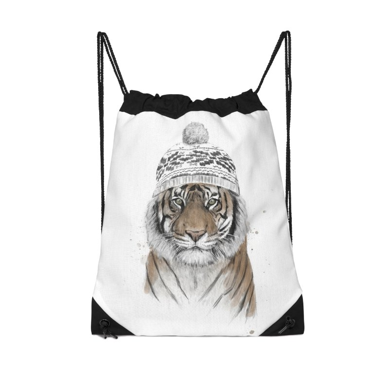 Siberian tiger Accessories Drawstring Bag Bag by Balazs Solti