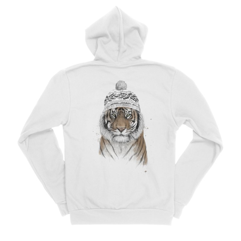 Siberian tiger Men's Sponge Fleece Zip-Up Hoody by Balazs Solti