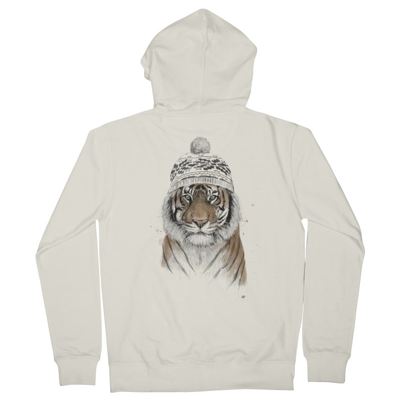Siberian tiger Men's French Terry Zip-Up Hoody by Balazs Solti