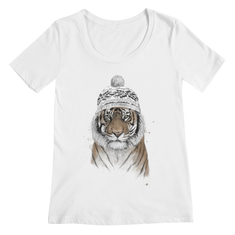Siberian tiger Women's Regular Scoop Neck by Balazs Solti