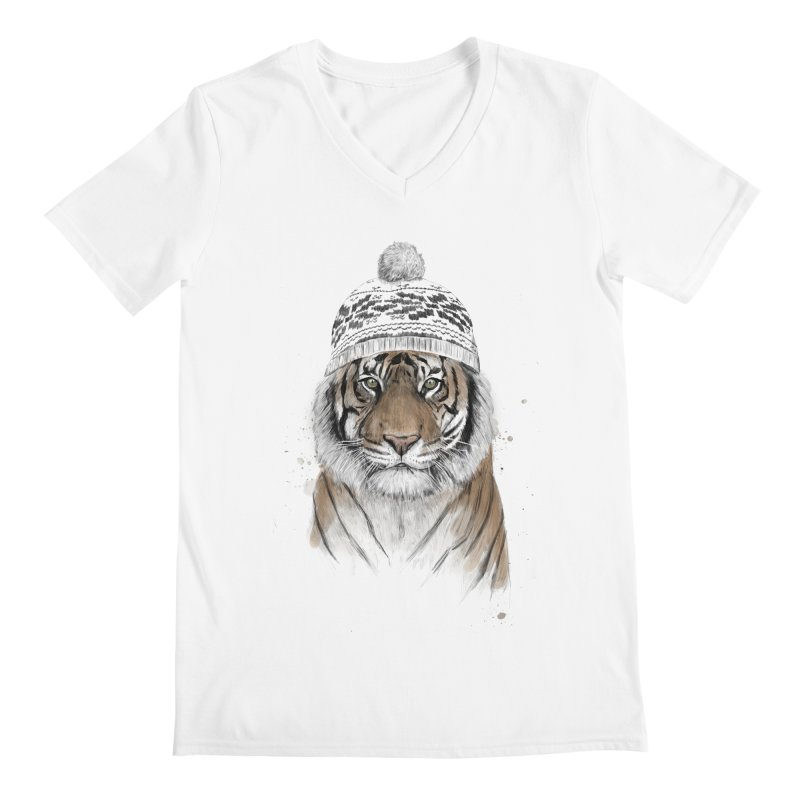 Siberian tiger Men's Regular V-Neck by Balazs Solti