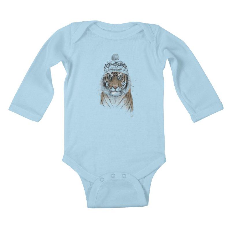 Siberian tiger Kids Baby Longsleeve Bodysuit by Balazs Solti