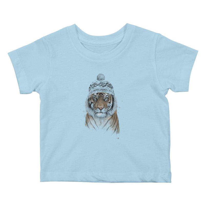 Siberian tiger Kids Baby T-Shirt by Balazs Solti