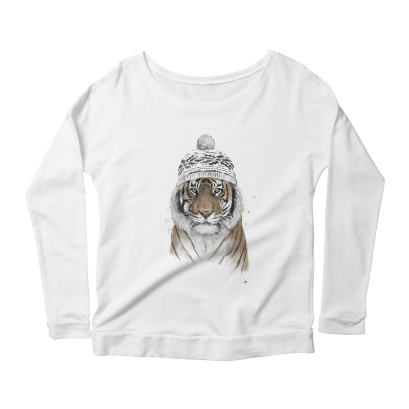 Siberian tiger Women's Scoop Neck Longsleeve T-Shirt by Balazs Solti