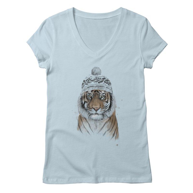 Siberian tiger Women's Regular V-Neck by Balazs Solti