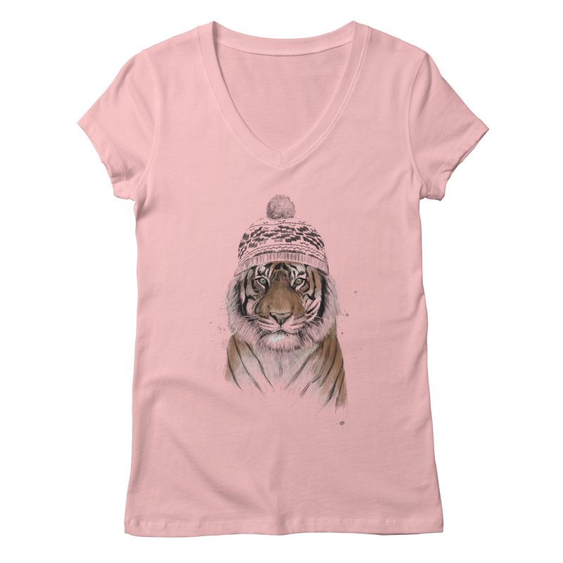 Siberian tiger Women's Regular V-Neck by Balazs Solti