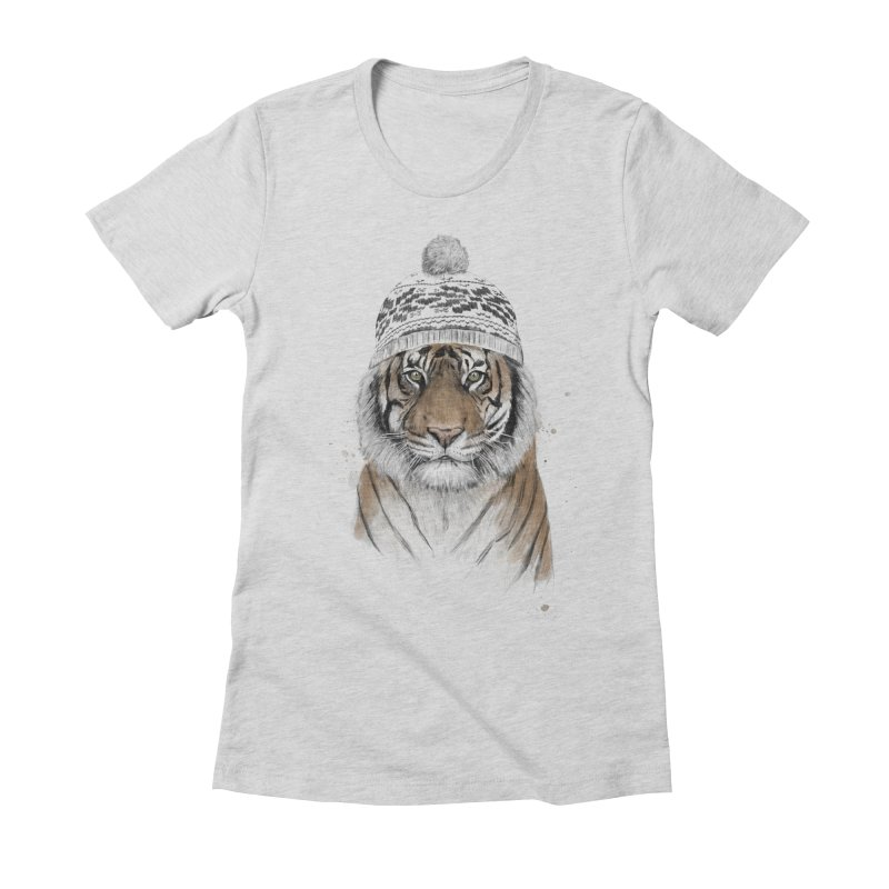 Siberian tiger Women's Fitted T-Shirt by Balazs Solti