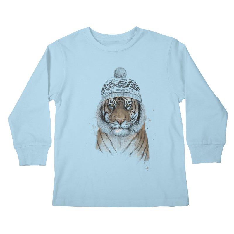 Siberian tiger Kids Longsleeve T-Shirt by Balazs Solti