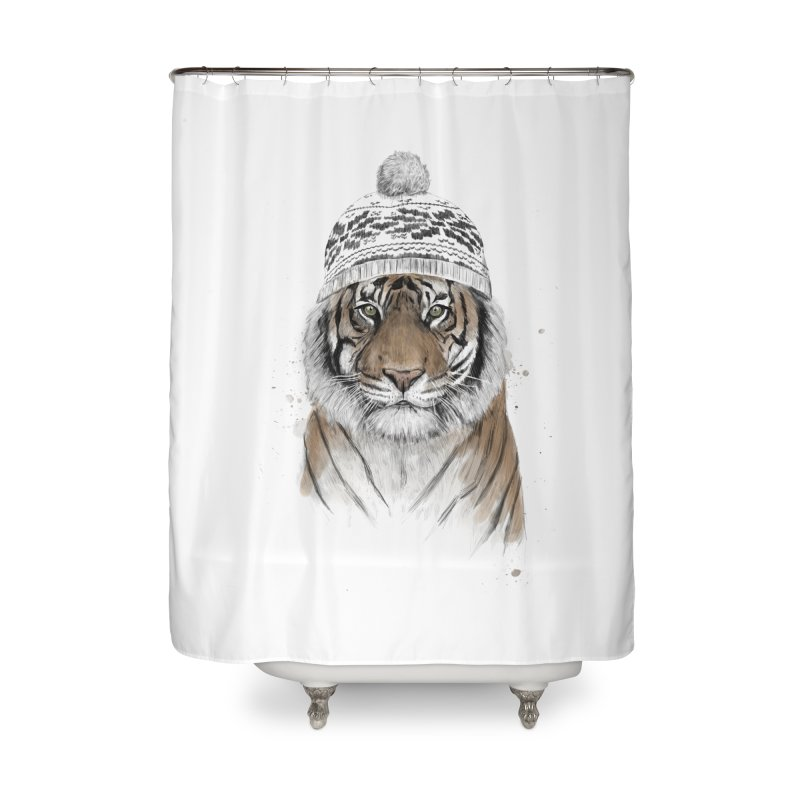 Siberian tiger Home Shower Curtain by Balazs Solti