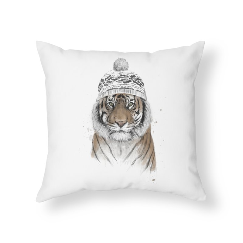 Siberian tiger Home Throw Pillow by Balazs Solti
