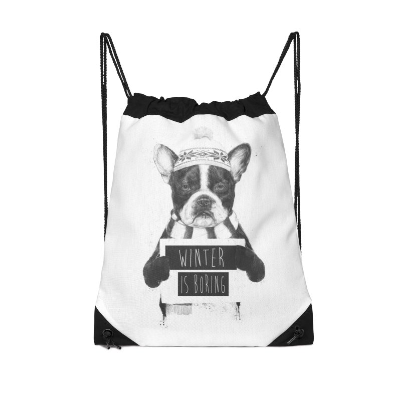 Winter is boring Accessories Drawstring Bag Bag by Balazs Solti