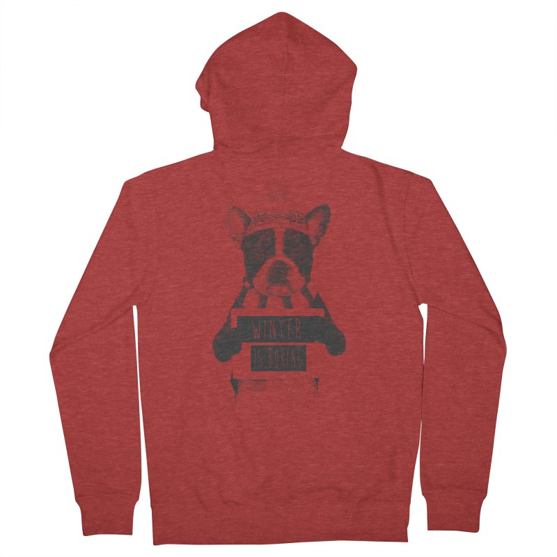 Winter is boring Men's French Terry Zip-Up Hoody by Balazs Solti