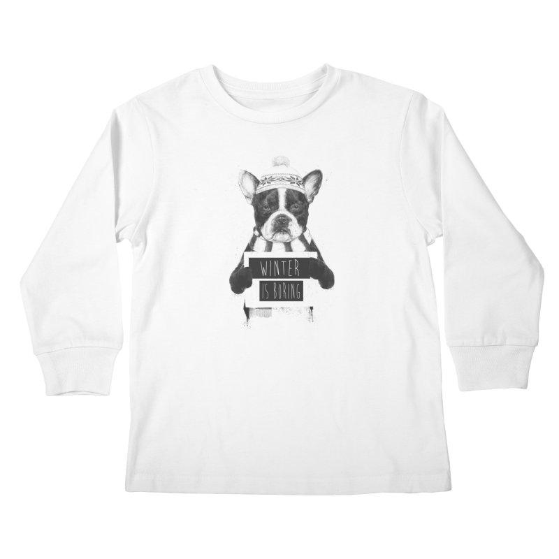 Winter is boring Kids Longsleeve T-Shirt by Balazs Solti