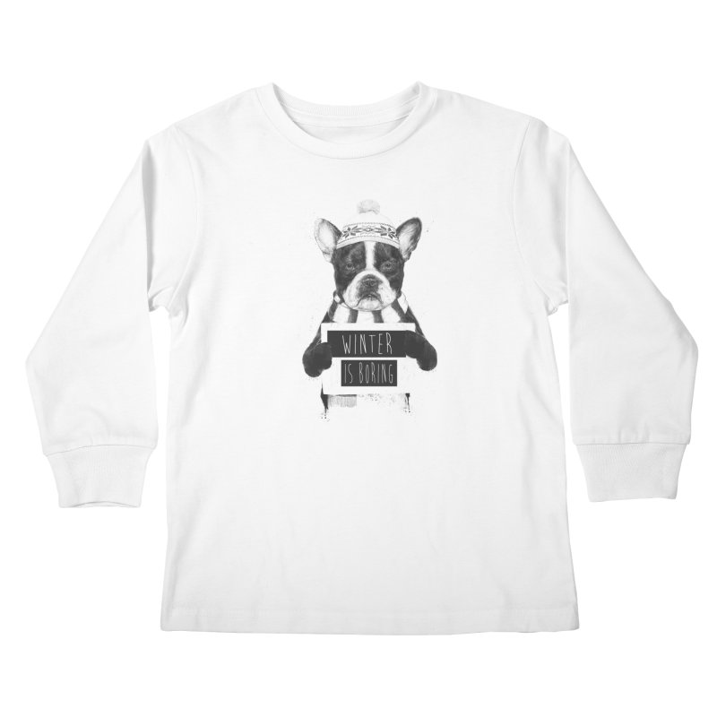 Winter is boring Kids Longsleeve T-Shirt by Balazs Solti