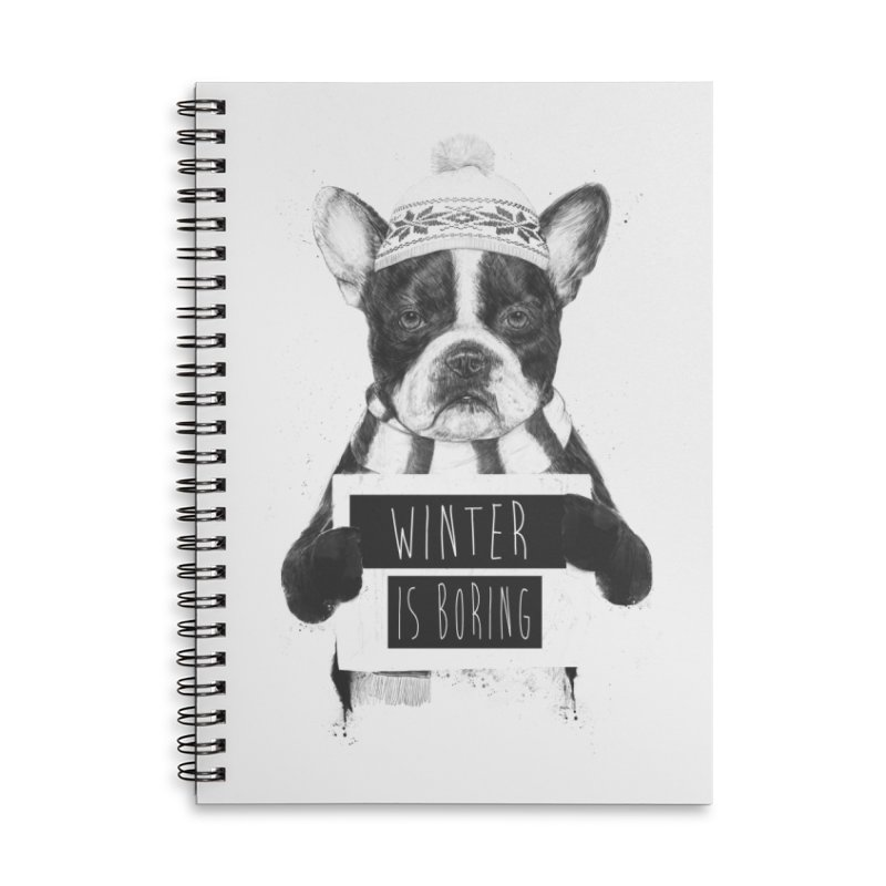 Winter is boring Accessories Lined Spiral Notebook by Balazs Solti