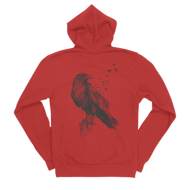 Born to be free Men's Sponge Fleece Zip-Up Hoody by Balazs Solti