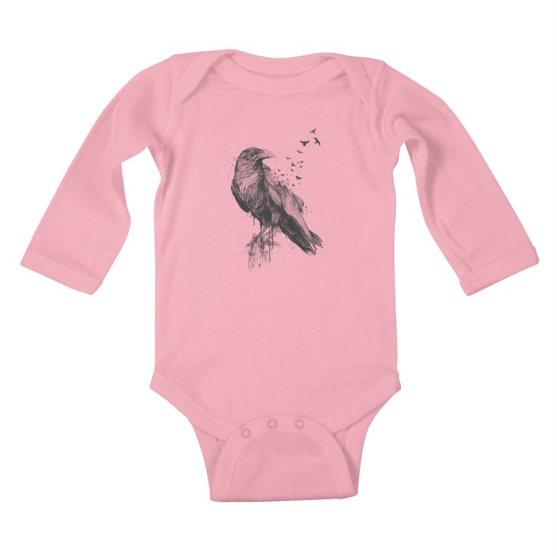 Born to be free Kids Baby Longsleeve Bodysuit by Balazs Solti