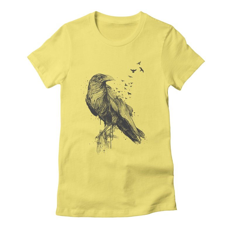 Born to be free Women's Fitted T-Shirt by Balazs Solti