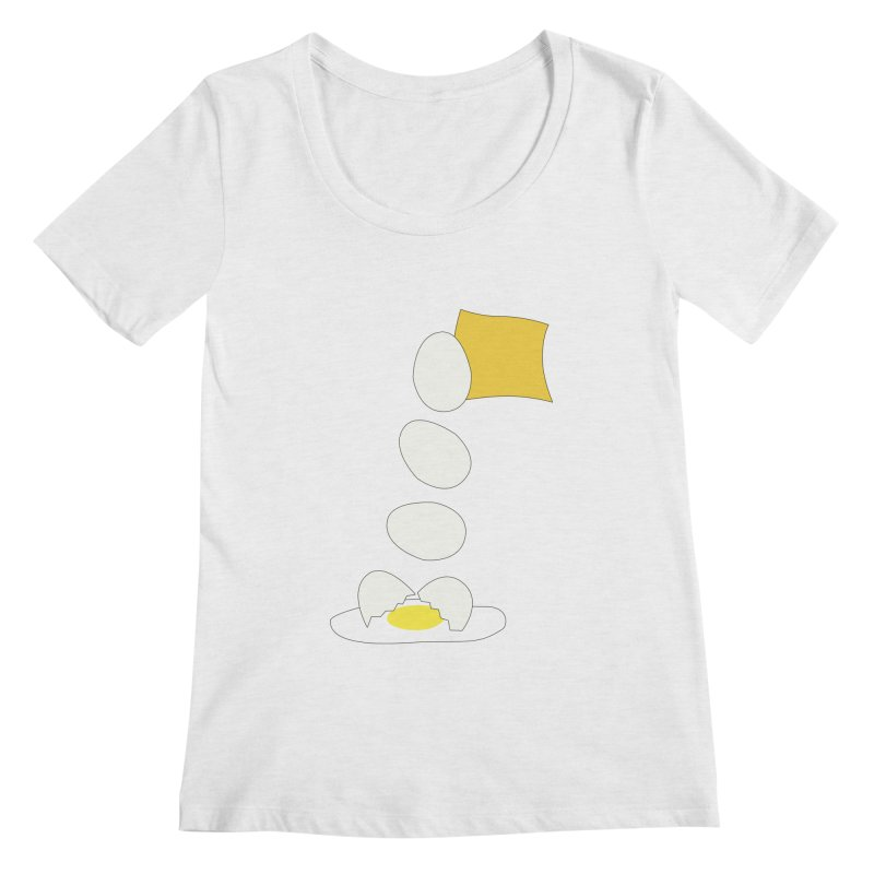 Food Fight - Cheese vs Egg. Women's Regular Scoop Neck by some art worker