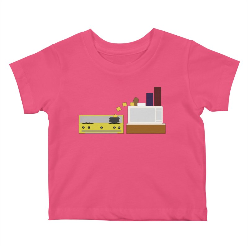 Food Fight - Potato vs Cheese. Kids Baby T-Shirt by some art worker