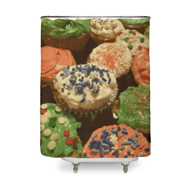 Christmas cupcakes with sprinkles Home Shower Curtain by some art worker