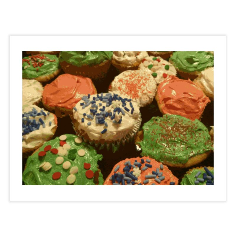 Christmas cupcakes with sprinkles Home Fine Art Print by some art worker