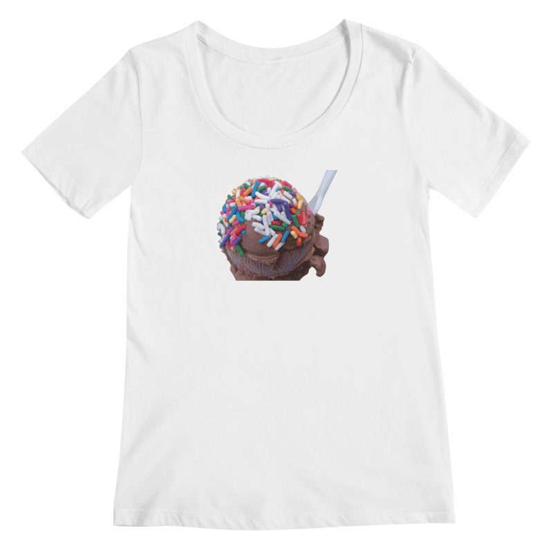 Warm Thoughts - Dark Chocolate Ice Cream with Rainbow Sprinkles Women's Regular Scoop Neck by some art worker
