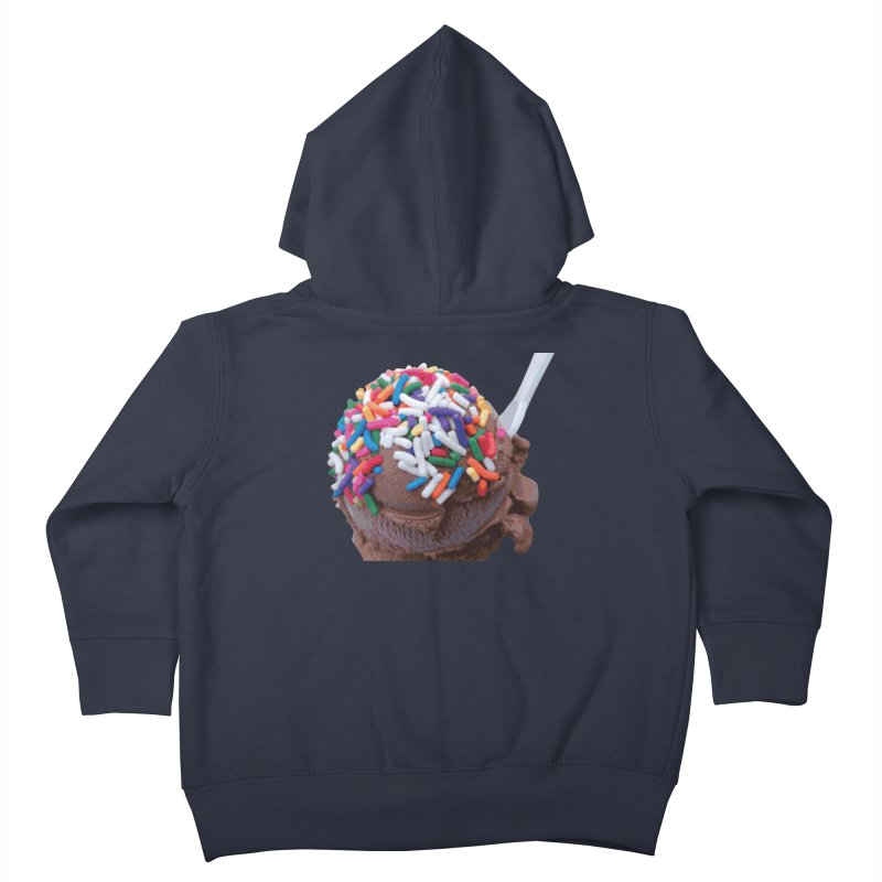 Warm Thoughts - Dark Chocolate Ice Cream with Rainbow Sprinkles Kids Toddler Zip-Up Hoody by some art worker