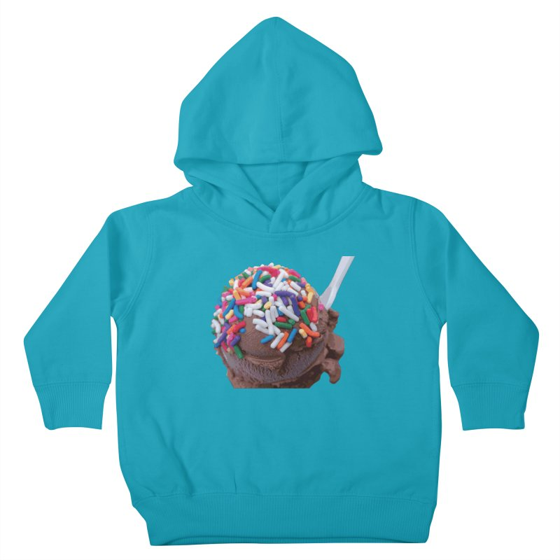Warm Thoughts - Dark Chocolate Ice Cream with Rainbow Sprinkles Kids Toddler Pullover Hoody by some art worker