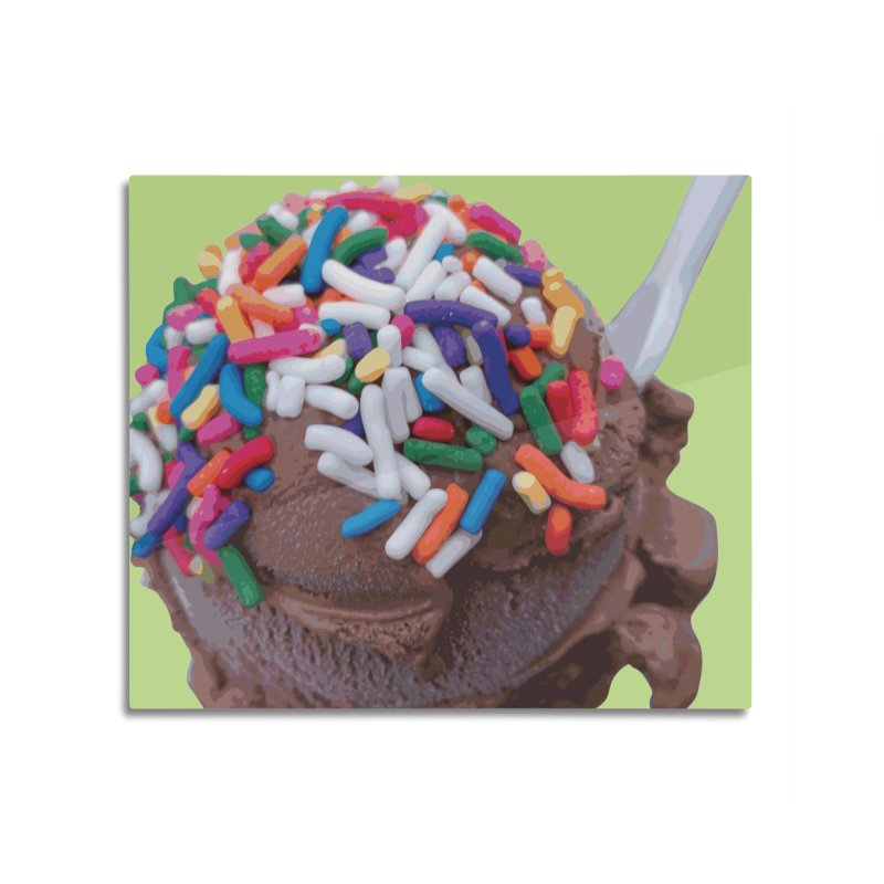 Warm Thoughts - Dark Chocolate Ice Cream with Rainbow Sprinkles Home Mounted Aluminum Print by some art worker