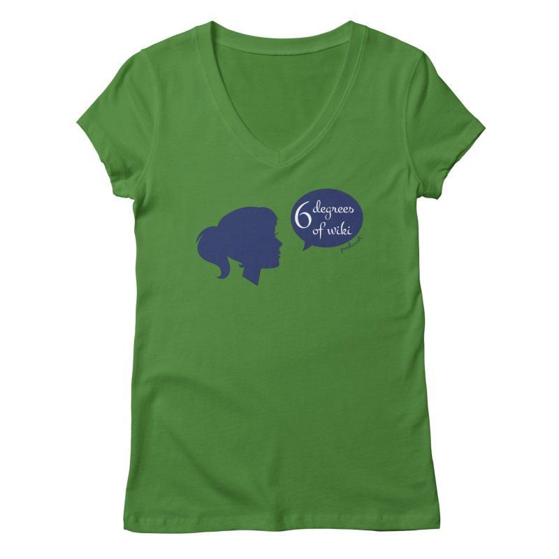 6 Degrees of Wiki podcast (blue logo) Women's Regular V-Neck by 6 Degrees of Wiki podcast