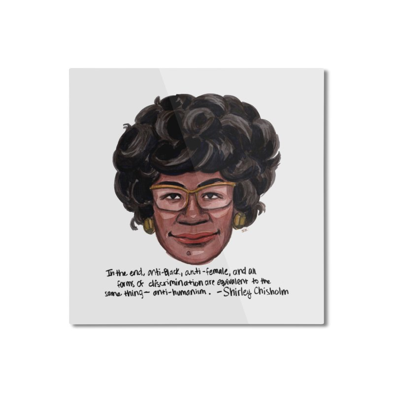Shirley Chisholm Home Mounted Aluminum Print by Sophia Zarders