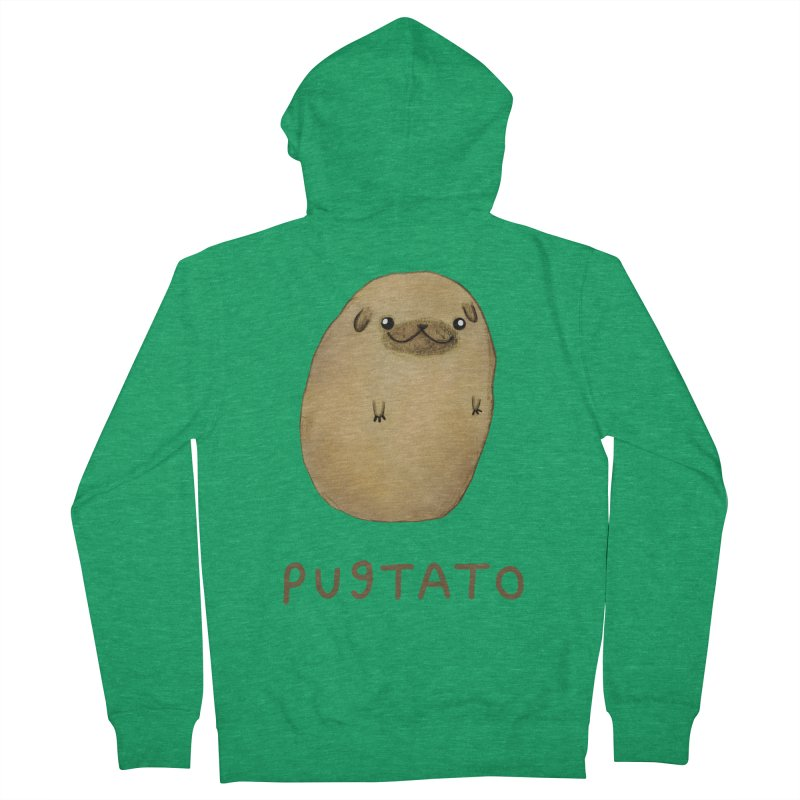 Pugtato Men's French Terry Zip-Up Hoody by Sophie Corrigan's Artist Shop