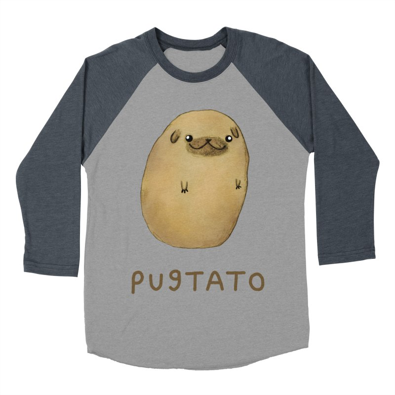 Pugtato Women's Baseball Triblend Longsleeve T-Shirt by Sophie Corrigan's Artist Shop