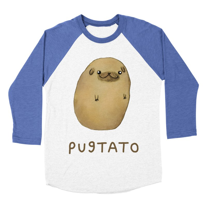 Pugtato Men's Baseball Triblend Longsleeve T-Shirt by Sophie Corrigan's Artist Shop