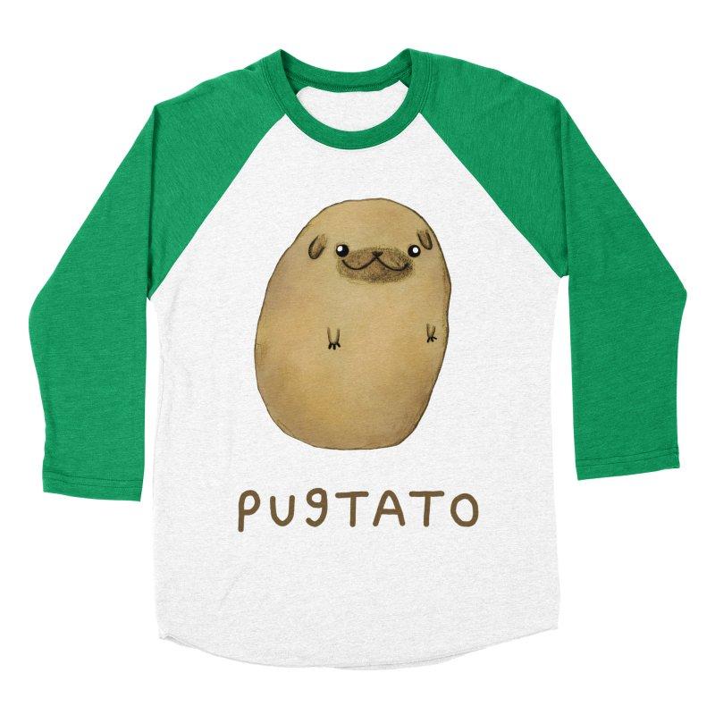 Pugtato Men's Baseball Triblend Longsleeve T-Shirt by Sophie Corrigan's Artist Shop