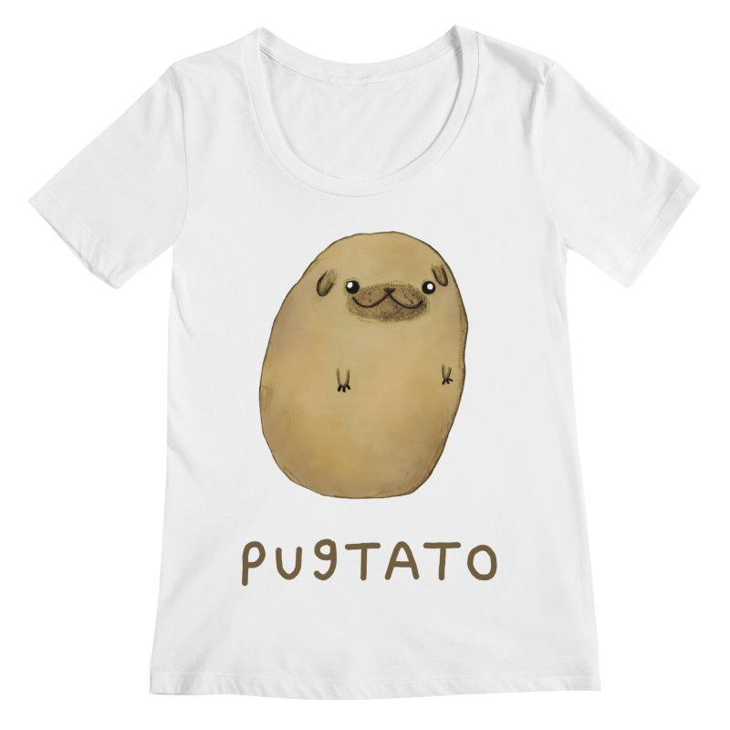 Pugtato Women's Regular Scoop Neck by Sophie Corrigan's Artist Shop